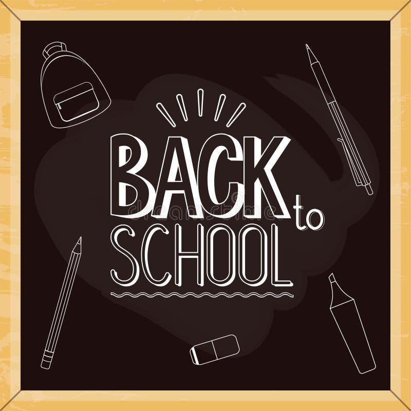Quadro ou quadro-negro da escola com de volta aos desenhos do sinal e de giz do texto de escola 1? de setembro ilustração stock