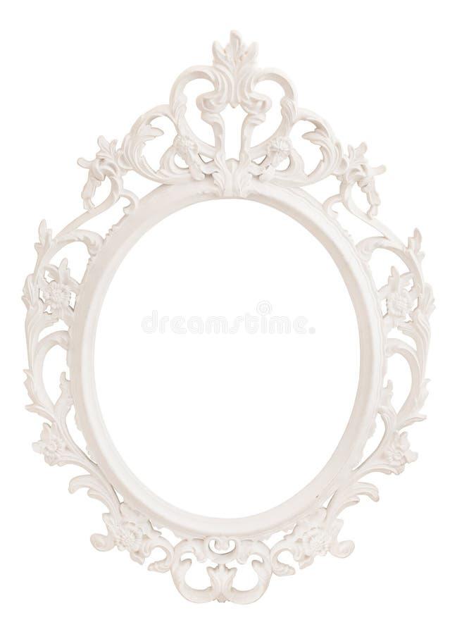 Quadro oval branco clássico do vintage foto de stock