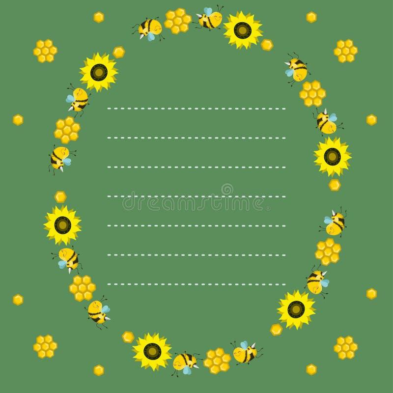 Quadro oval com abelhas, favos de mel e girassóis em um fundo verde Linha pontilhada, lugar para o texto Placa do vetor ilustração stock