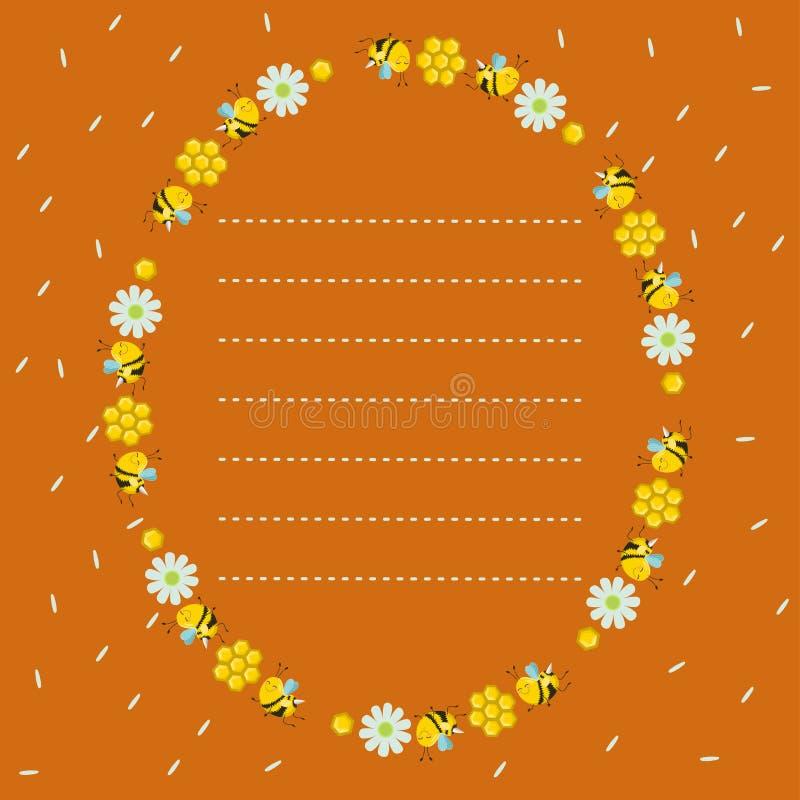 Quadro oval com favos de mel, abelhas, flores Fundo alaranjado com pétalas do voo Linha pontilhada, lugar para o texto Ilustra??o ilustração do vetor