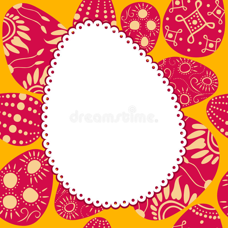 Quadro oval da Páscoa com ovos pintados ilustração do vetor