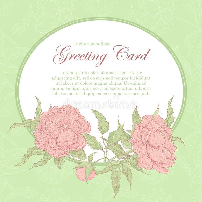 Quadro oval do vetor do vintage com peônias cor-de-rosa As flores em botão, os ramos e as folhas em um fundo e em um lugar verdes ilustração royalty free