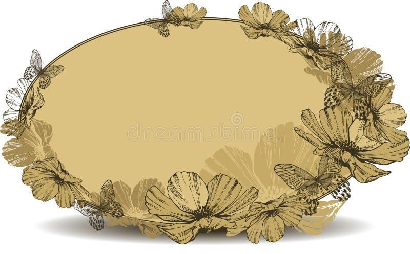 Quadro oval do vintage com flores e borboletas Illustra do vetor ilustração do vetor