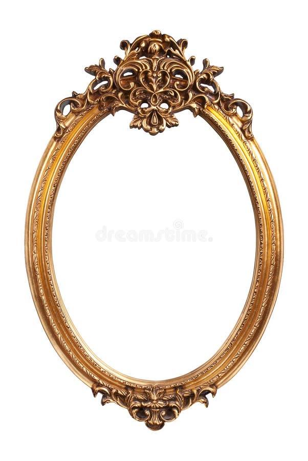 Quadro oval do vintage do ouro fotografia de stock