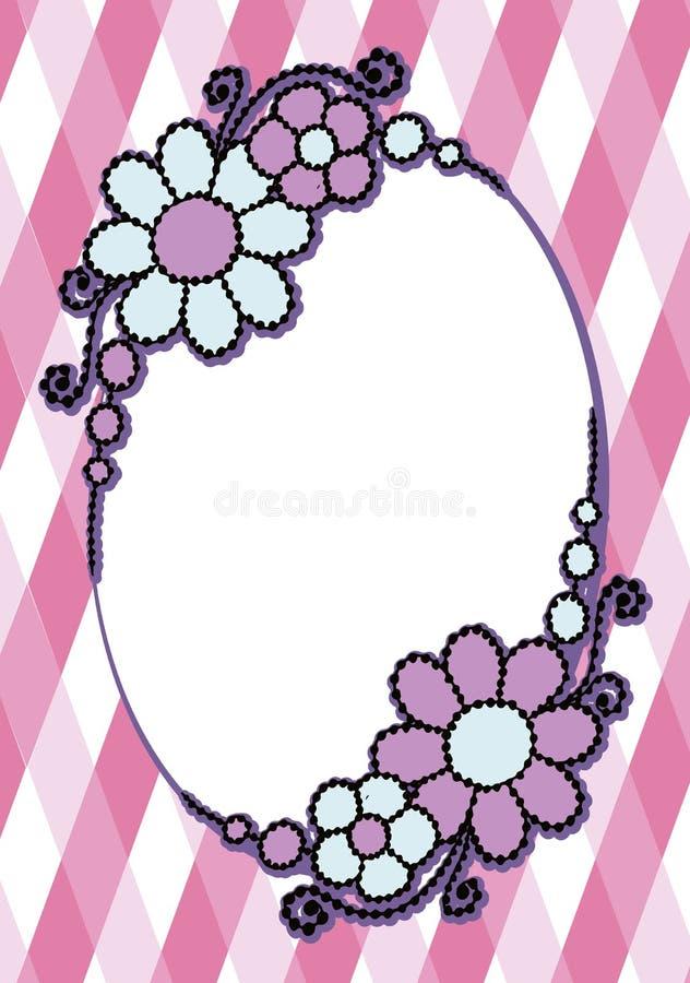 Quadro oval pintado colorido simples do vetor com ondas florais e d fotografia de stock