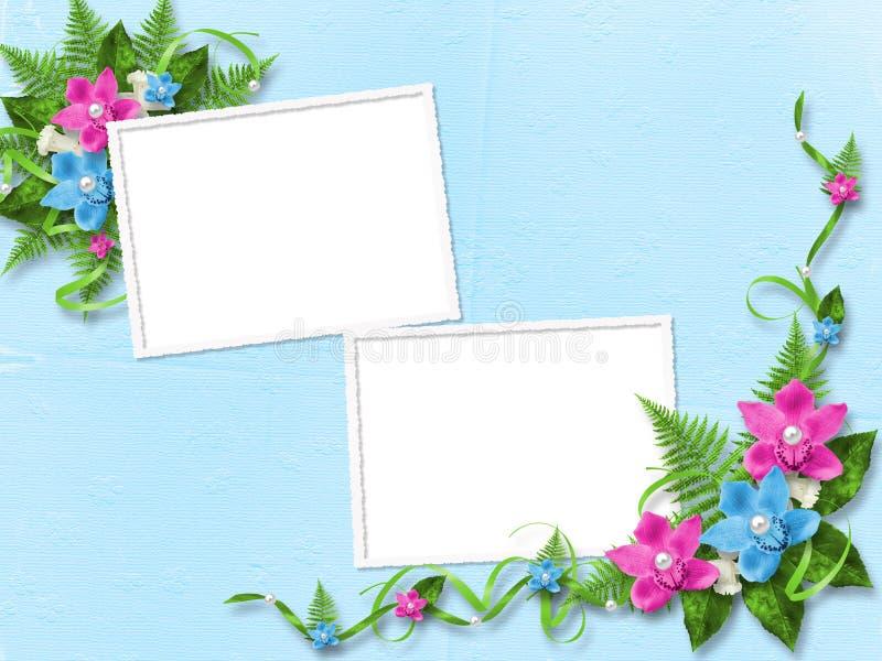 Quadro para a foto com orquídeas ilustração royalty free