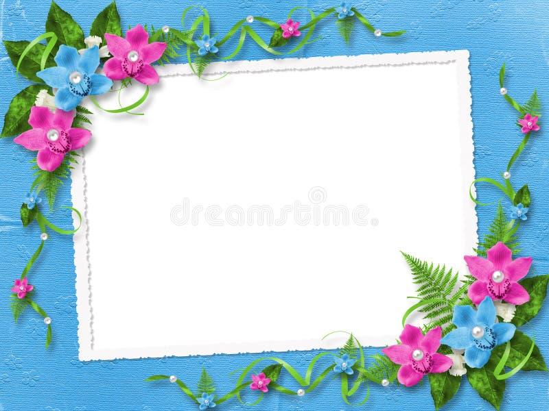 Quadro para a foto com orquídeas cor-de-rosa ilustração do vetor