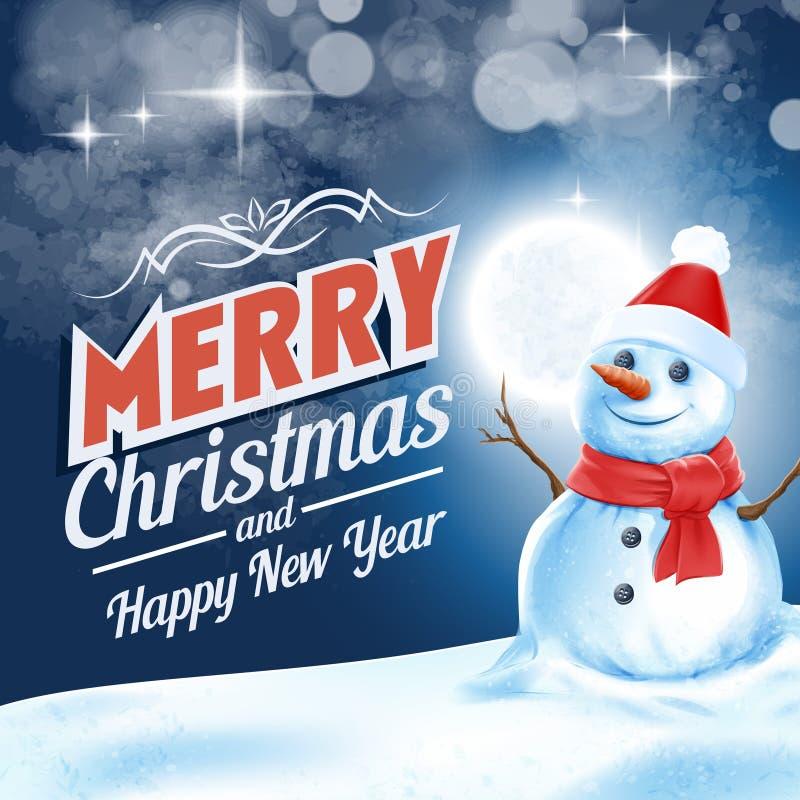 Quadro para a noite do boneco de neve do Natal ilustração do vetor