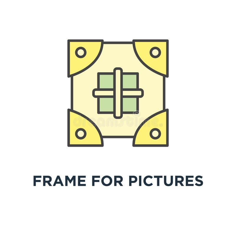 quadro para o ícone das imagens para deixar cair o projeto do símbolo do conceito, adicionar e compartilhar de uma foto, uma imag ilustração royalty free