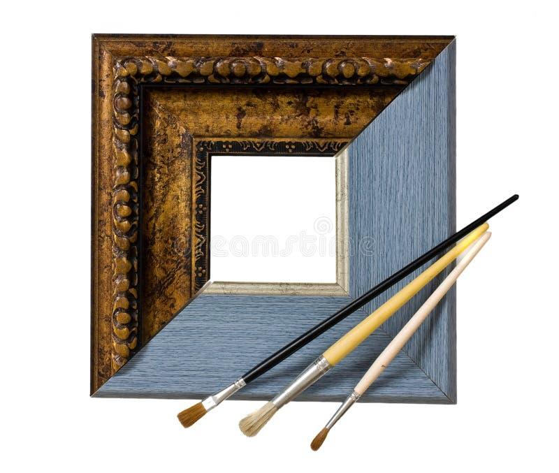 Quadro para retratos e escova fotografia de stock