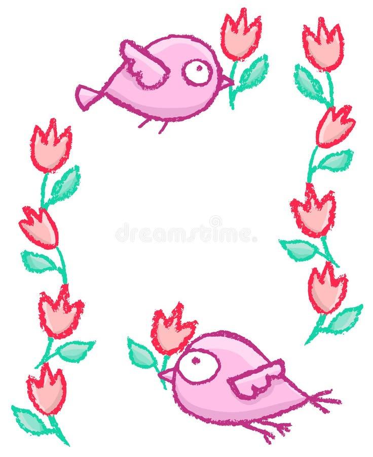 Quadro pequeno bonito dos pássaros ilustração stock