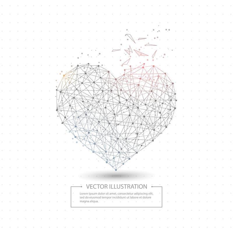 Quadro poli tirado Digital do fio do coração do amor baixo ilustração royalty free