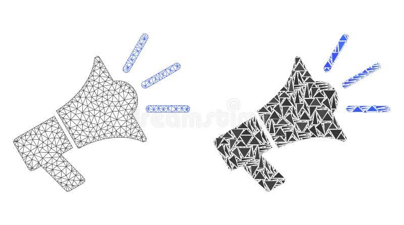 Quadro poligonal Mesh Advertising Megaphone do fio e ícone do mosaico ilustração stock