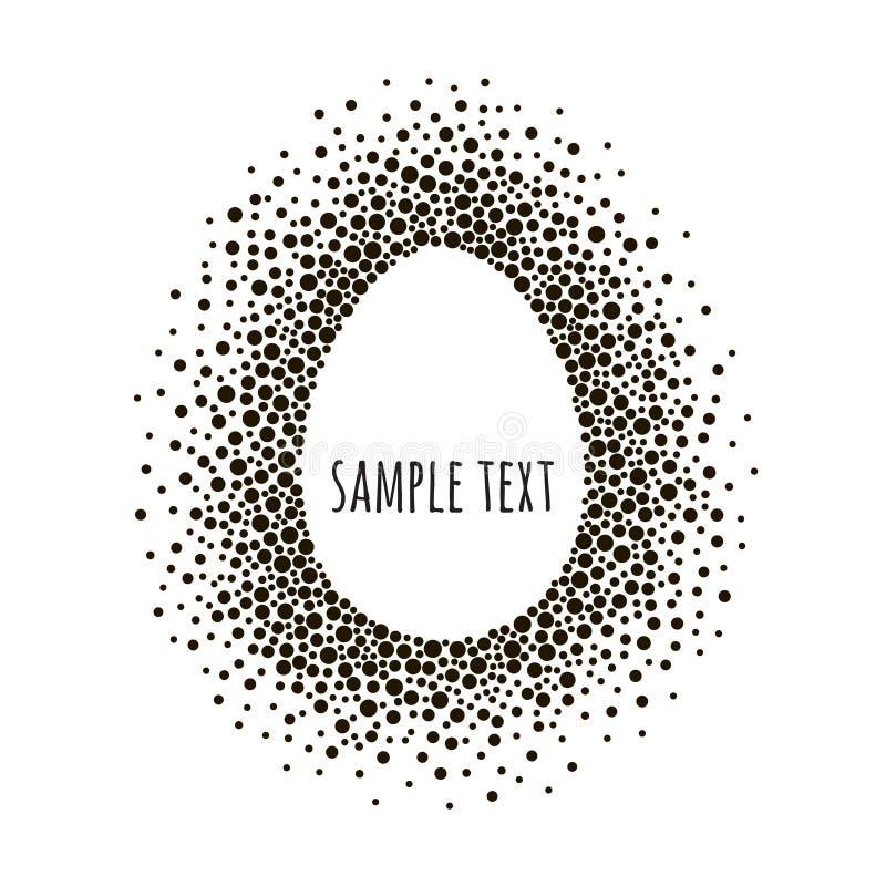 Quadro pontilhado ovo com espaço para o texto Fundo preto e branco do sumário do vetor ilustração stock