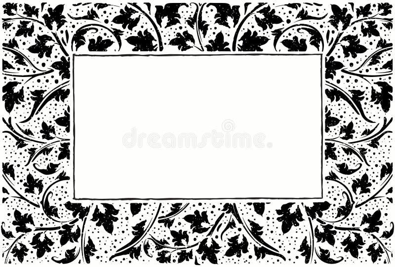 Quadro preto com coleção das plantas, estilo do grunge com gotas ilustração stock