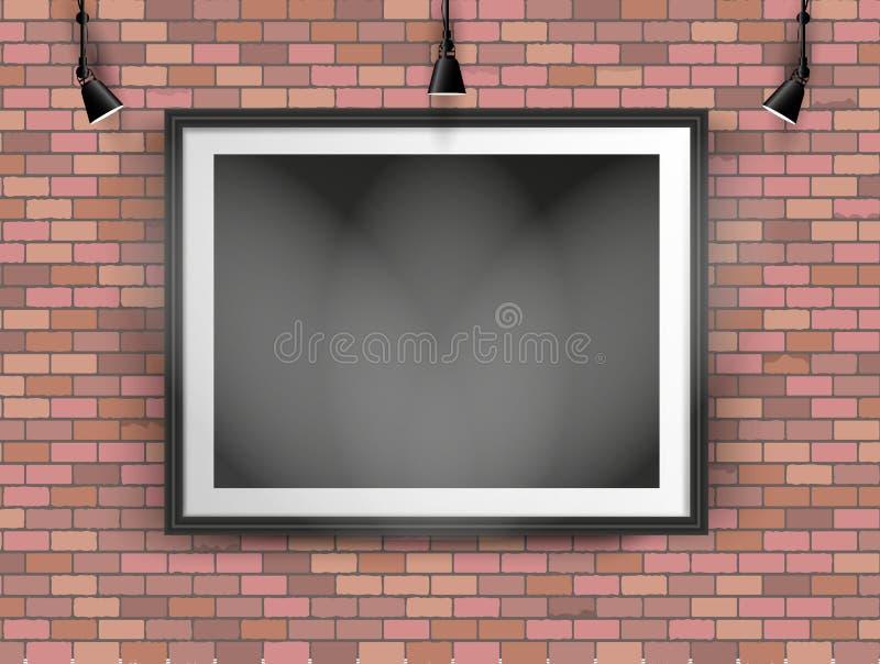 Quadro preto da foto na parede de tijolo imagens de stock