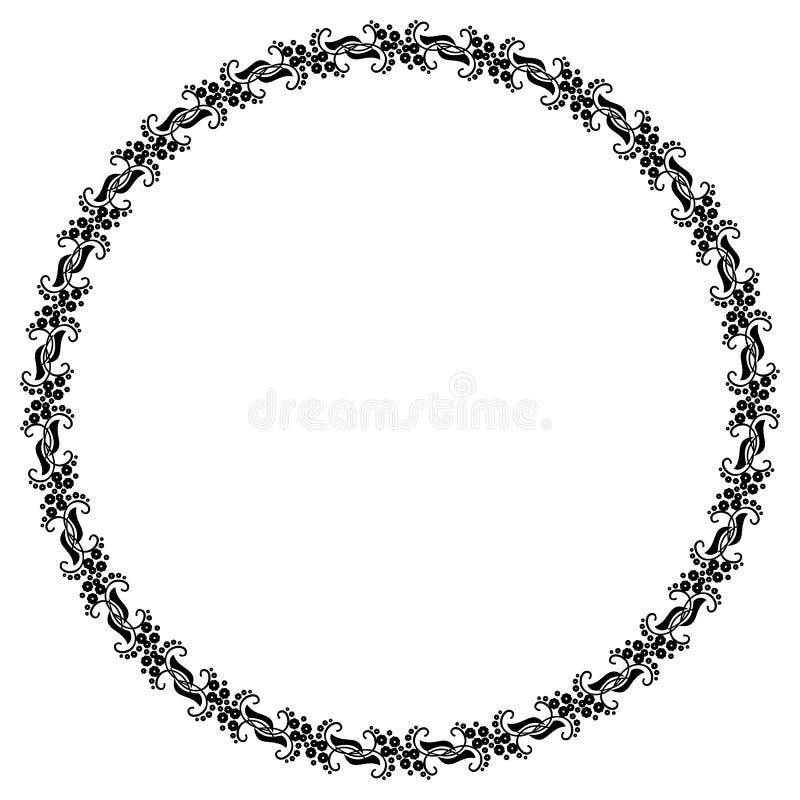 Quadro preto e branco redondo com as flores decorativas abstratas Copie o espaço ilustração do vetor