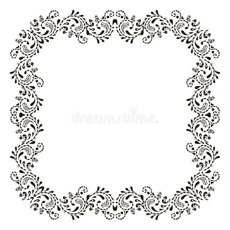 Quadro preto floral do vintage isolado no branco Frame do vetor ilustração royalty free