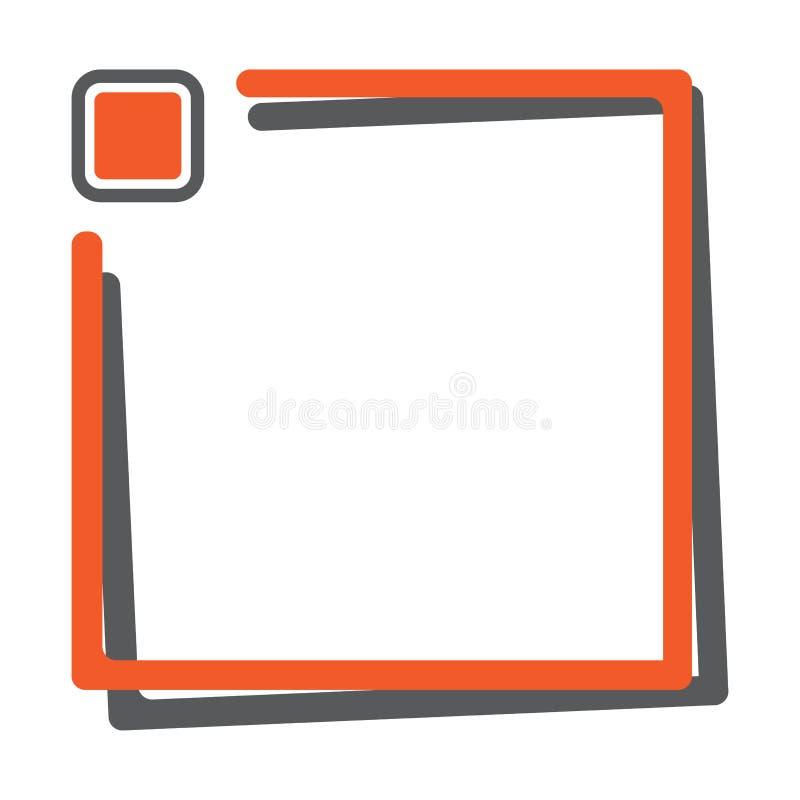 Quadro quadrado alaranjado com o botão para seu texto Vetor ilustração stock
