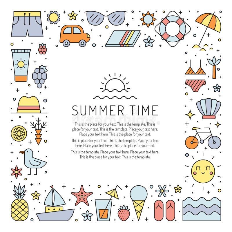 Quadro quadrado colorido da praia do verão Projeto limpo e simples do esboço ilustração stock
