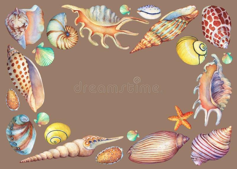 Quadro quadrado com objetos subaquáticos pintados à mão da vida ilustração do vetor