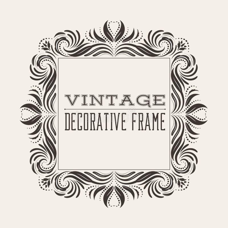 Quadro quadrado da beira do vintage do vetor com teste padrão retro do ornamento ilustração do vetor