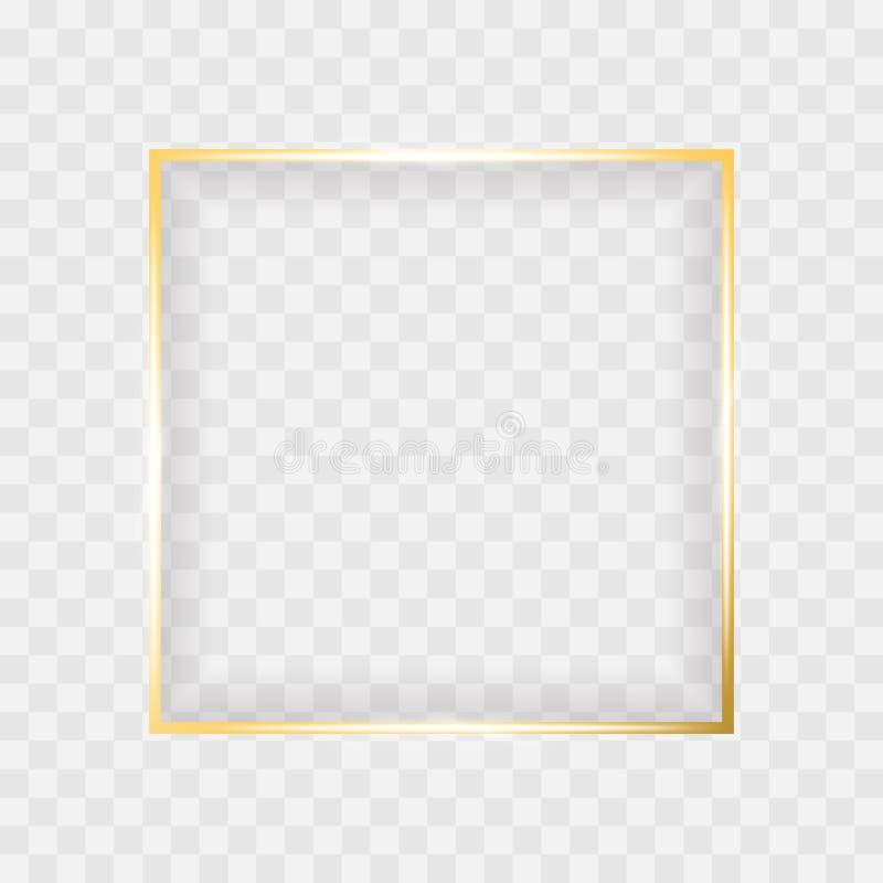 Quadro quadrado de incandescência brilhante do ouro isolado no fundo transparente Beira do vetor para o projeto criativo ilustração do vetor