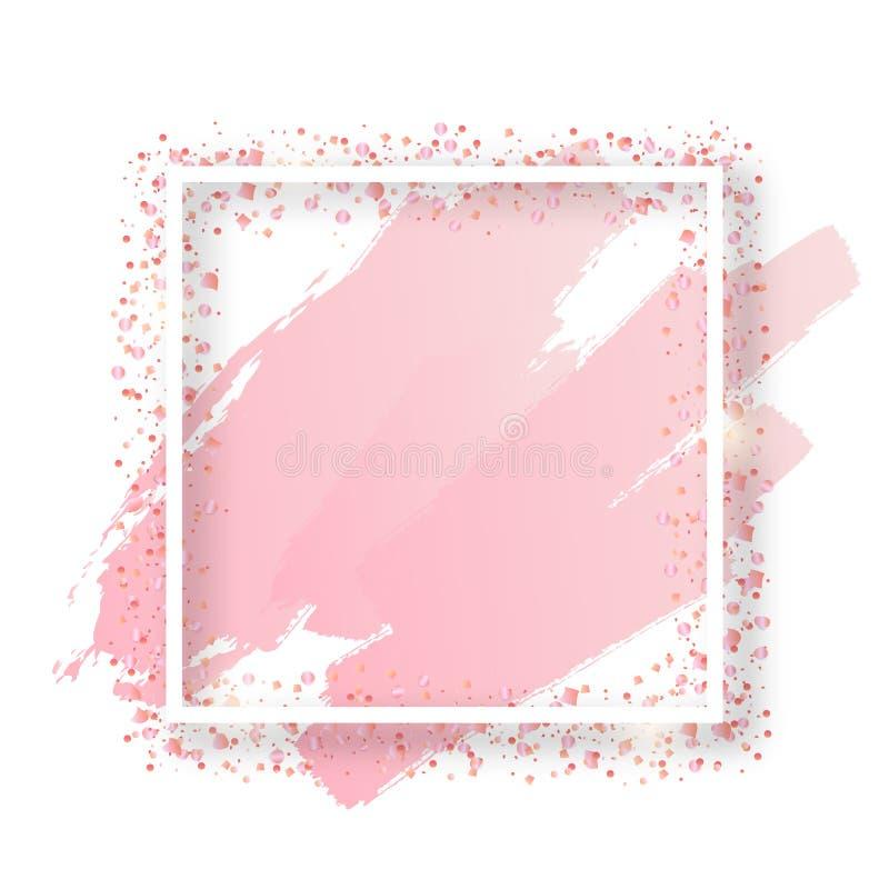Quadro quadrado decorativo do vetor com ouropel do brilho dos confetes Beira festiva de incandescência com sparkles brilhantes, r ilustração royalty free