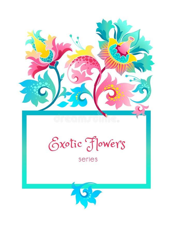 Quadro quadrado do vetor com flores exóticas ilustração royalty free