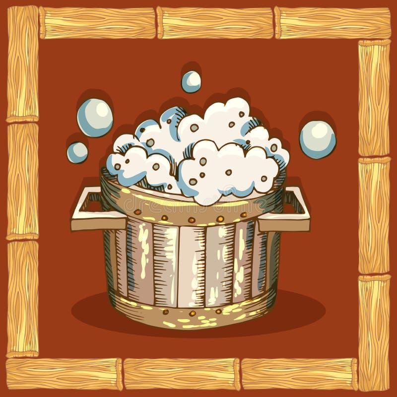Quadro quadrado feito de pranchas de madeira Símbolos do banho, cartões para áreas de rotulagem da sauna Bacia com espuma do sabã ilustração stock