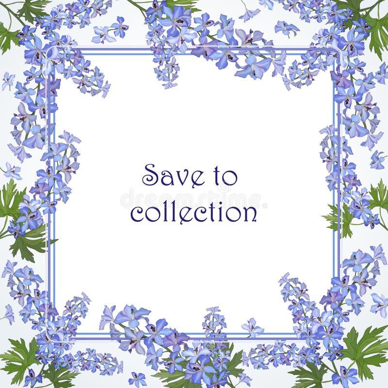 Quadro quadrado floral com as flores do delfínio azul Vetor ilustração do vetor