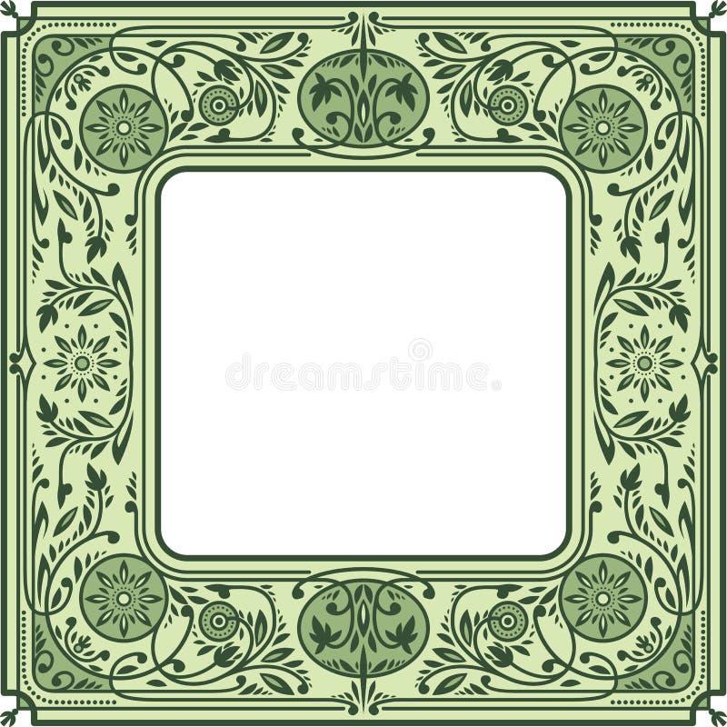 Quadro quadrado floral Espaço branco no centro ilustração do vetor