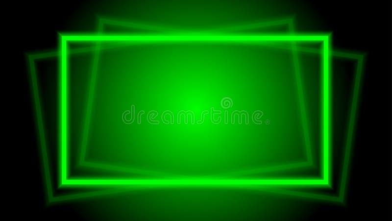 Quadro quadrado horizontal elegante para o fundo, quadro quadrado geométrico do verde do feixe luminoso do brilho da luz do disco ilustração royalty free