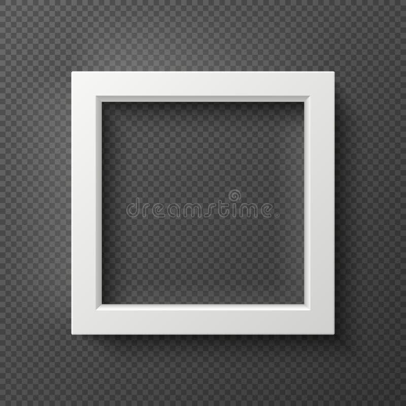 Quadro quadrado vazio da parede do branco 3d para o modelo criativo do vetor da imagem ilustração stock