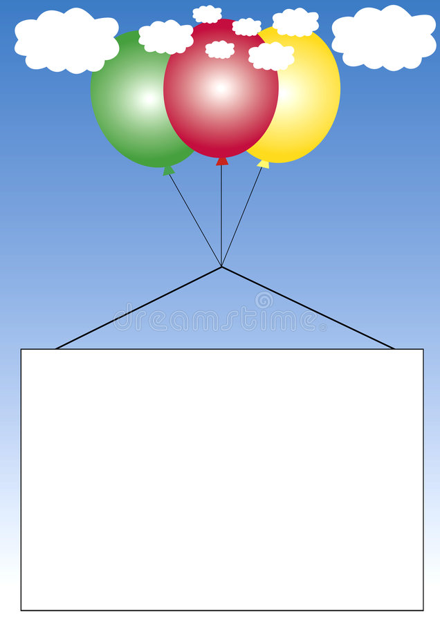 Quadro que pendura em balões ilustração stock