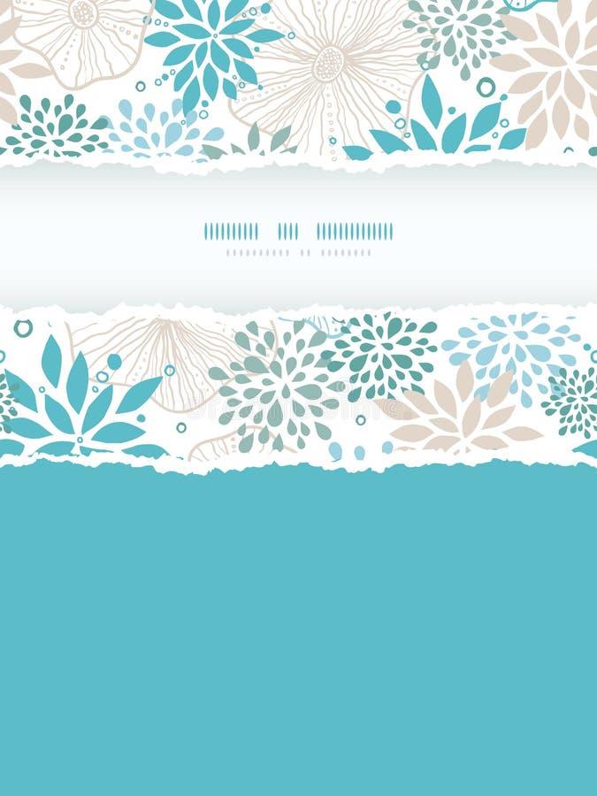 Quadro rasgado vertical das plantas azuis e cinzentas sem emenda ilustração stock