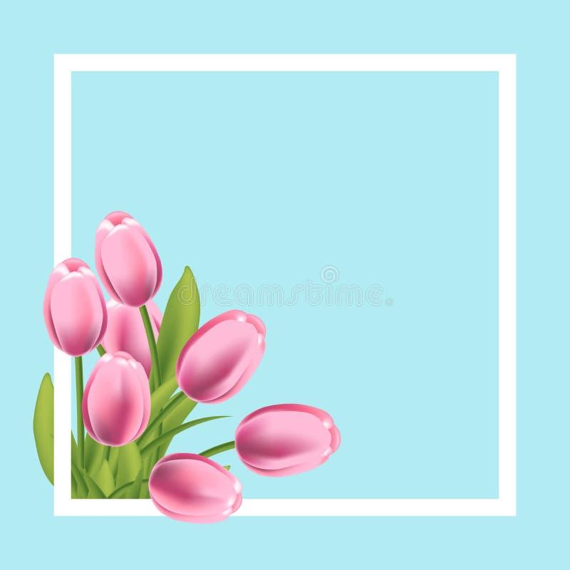 Quadro realístico da flor das tulipas Molde vazio para a bandeira da promoção do texto, do cumprimento e da mola Ilustração do ve ilustração do vetor
