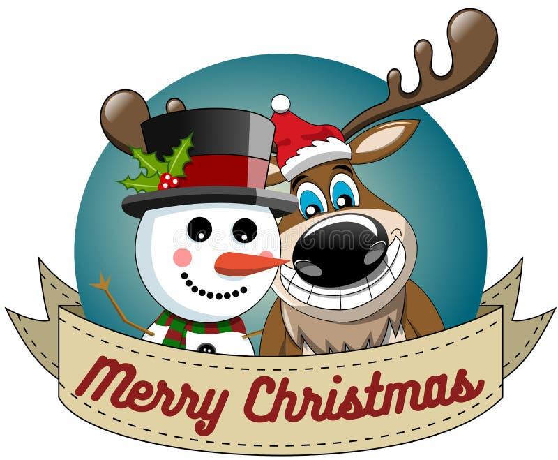 Quadro redondo alegre do Xmas do boneco de neve do Natal da rena ilustração royalty free