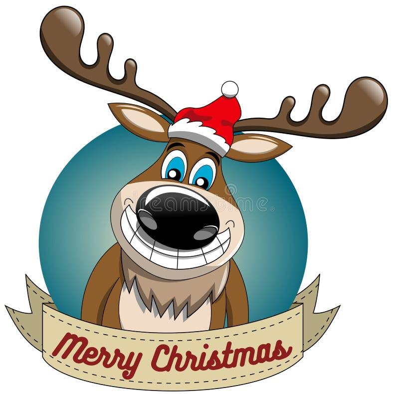 Quadro redondo alegre do Xmas do Natal da rena ilustração do vetor
