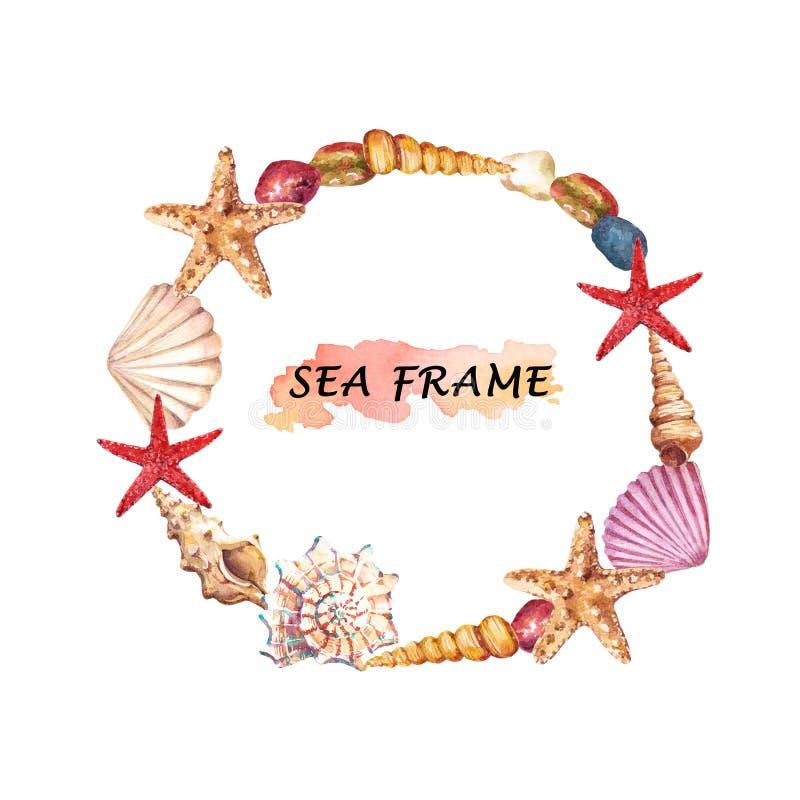 Quadro redondo aquático da aquarela com shell, estrela do mar e pedras do mar foto de stock