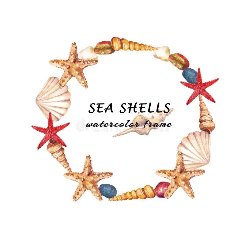 Quadro redondo aquático da aquarela com shell, estrela do mar e pedras do mar imagem de stock