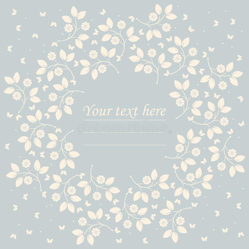 Quadro redondo bonito com flores e borboletas ilustração royalty free
