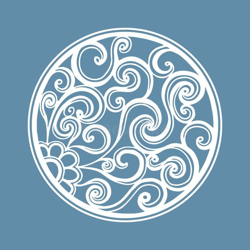 Quadro redondo branco a céu aberto do vetor com espiral Corte do laser ilustração do vetor