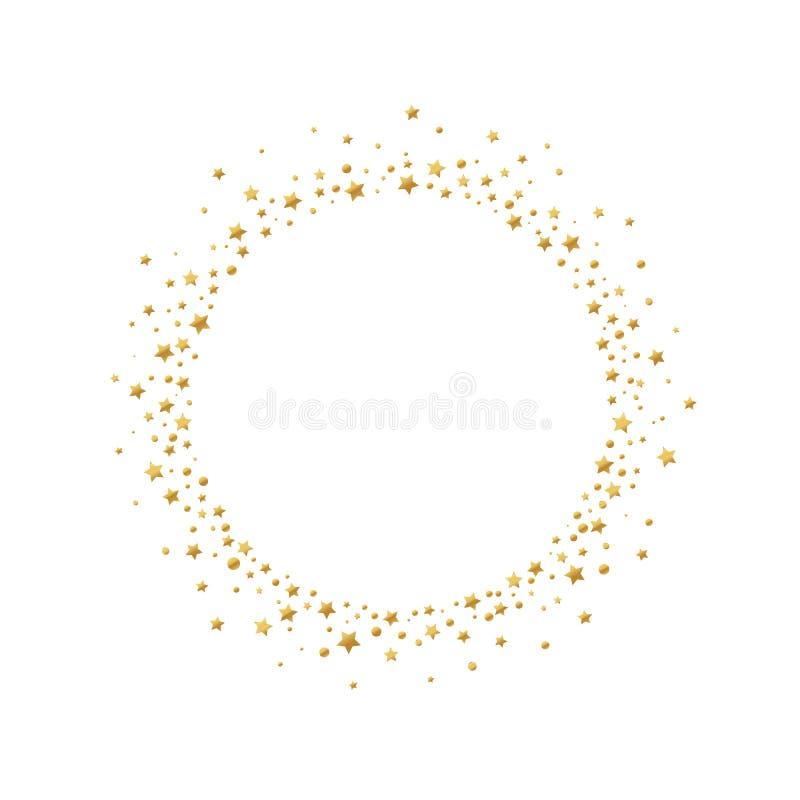 Quadro redondo com as estrelas e os círculos dos confetes do ouro isolados no fundo branco ilustração stock