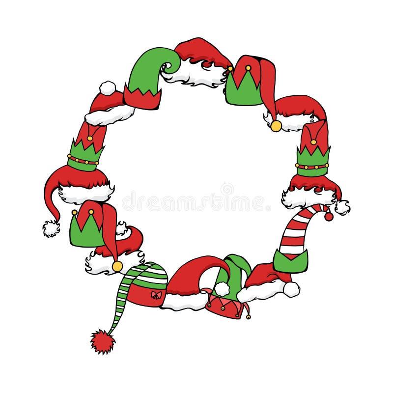 Quadro redondo com duende dos desenhos animados e chapéus do Natal O objeto é separado do fundo Molde festivo ilustração royalty free