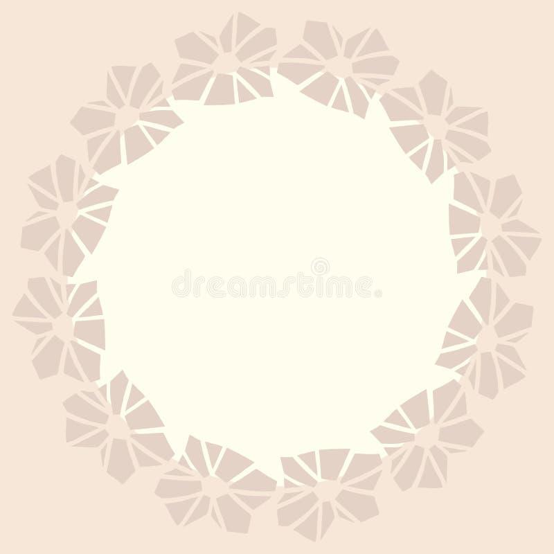 Quadro redondo com flores geométricas ilustração do vetor