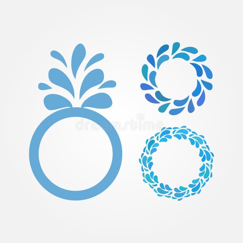Quadro redondo com gotas da água O grupo de três isolou beiras azuis ilustração royalty free