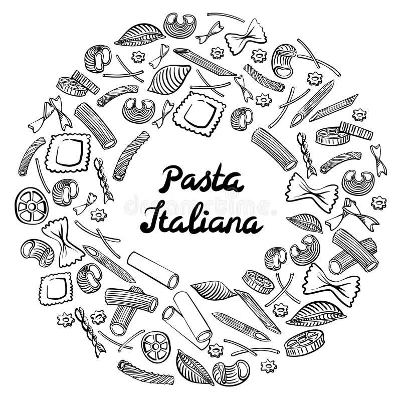 Quadro redondo com macarrão italiano de tipos diferentes Tra??o da m?o preta no fundo branco ilustração stock