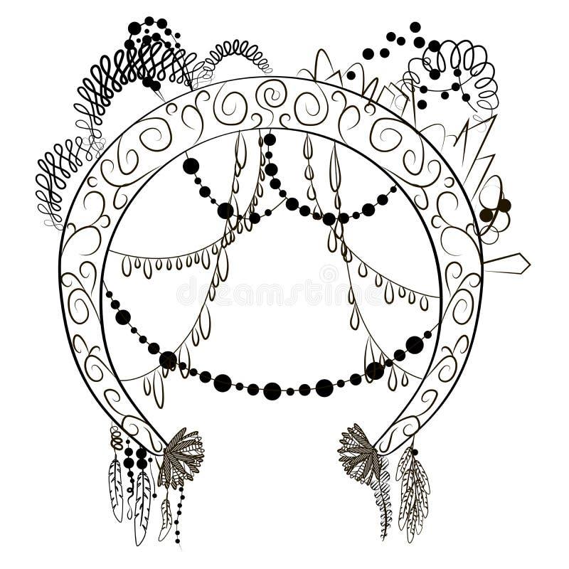 Quadro redondo com os diamantes e as correntes decorativos das penas das flores dos objetos ilustração stock