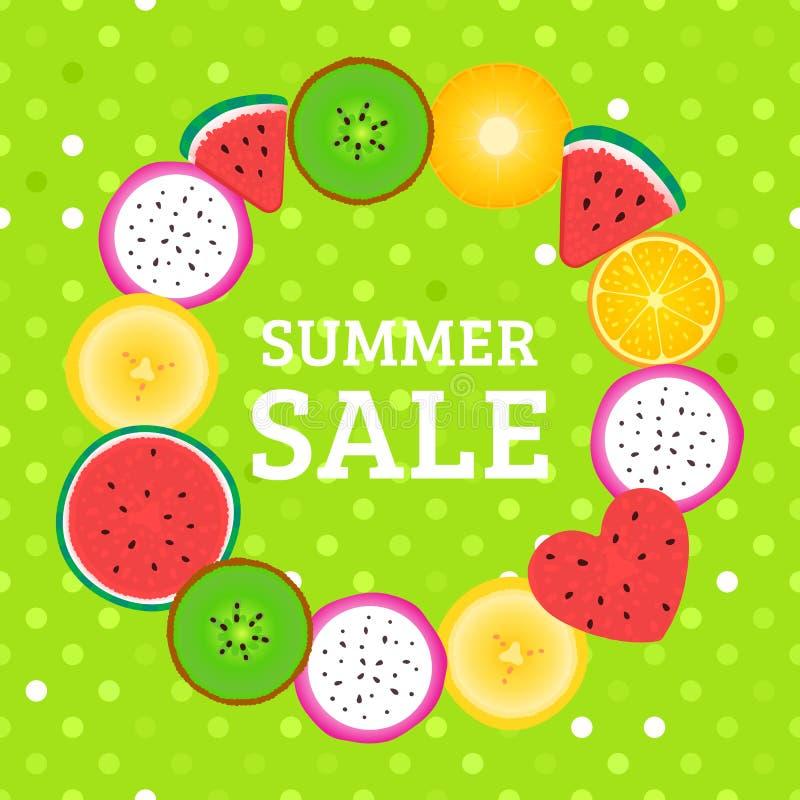 Quadro redondo com partes de VENDA do verão dos frutos tropicais Quivi do vetor, melancia, banana, dragonfruit ilustração stock